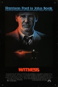 8a979 WITNESS 1sh 1985 big city cop Harrison Ford in Amish country, directed by Peter Weir!