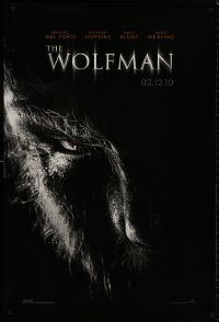 8a982 WOLFMAN teaser DS 1sh 2010 cool image of Benicio Del Toro as monster in title role!