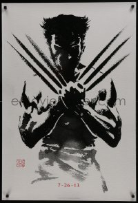 8a983 WOLVERINE style A teaser DS 1sh 2013 art of Hugh Jackman in title role by Suren Galadjian!