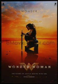 8a985 WONDER WOMAN teaser DS 1sh 2017 sexiest Gal Gadot in title role/Diana Prince kneeling, June 2