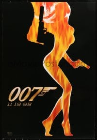 8a989 WORLD IS NOT ENOUGH teaser DS 1sh 1999 James Bond, flaming silhouette of sexy girl!
