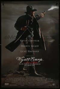 8a990 WYATT EARP 1sh 1994 cool image of Kevin Costner in the title role firing gun!