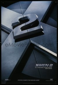 8a992 X-MEN 2 style A int'l teaser DS 1sh 2003 great image of Hugh Jackman, sexy Anna Paquin & cast!