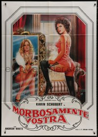 8b267 MORBOSAMENTE VOSTRA Italian 1p 1985 Aller art of sexy mostly naked Karin Schubert!