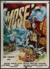 8b269 MOSES Italian 1p 1974 different art of Burt Lancaster holding Ten Commandments in flood!