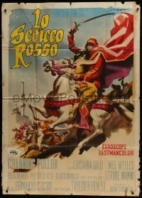 8b280 RED SHEIK Italian 1p 1962 cool art of Channing Pollock on horse by Enrico De Seta!