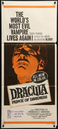 8c829 DRACULA PRINCE OF DARKNESS Aust daybill 1970s artwork of most evil vampire Christopher Lee