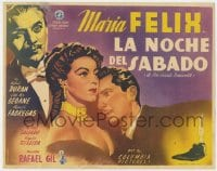 8c026 SATURDAY NIGHT Mexican LC 1950 Rafael Gil directed, art of Maria Felix & Rafael Duran!