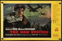 8c002 DAM BUSTERS English trade ad 1955 great art of World War II pilot Richard Todd!