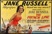 8c010 FRENCH LINE English trade ad 1954 Howard Hughes, different art of sexy Jane Russell