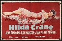 8c012 HILDA CRANE English trade ad 1956 sexy artwork of full-length Jean Simmons in red dress!