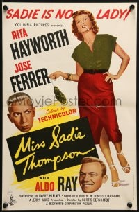 8c014 MISS SADIE THOMPSON English trade ad 1954 full-length Rita Hayworth, Jose Ferrer, Aldo Ray