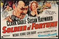 8c015 SOLDIER OF FORTUNE English trade ad 1955 Hinchliffe art of Clark Gable & sexy Susan Hayward!