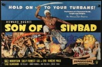 8c016 SON OF SINBAD English trade ad 1955 Howard Hughes, Dale Robertson, hold on to your turbans!