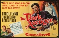8c018 WARRIORS English trade ad 1955 Errol Flynn, Joanne Dru & Peter Finch, Dark Avenger!