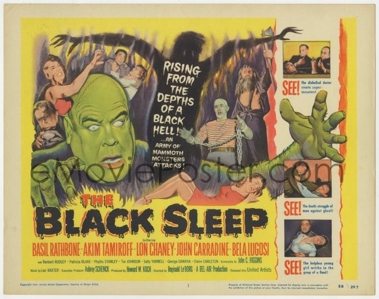 emovieposter com 8j035 black sleep tc 1956 lon chaney jr bela