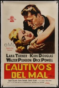8m020 BAD & THE BEAUTIFUL linen Argentinean 1953 art of Kirk Douglas manhandling sexy Lana Turner!