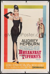 8m264 BREAKFAST AT TIFFANY'S linen 1sh 1962 classic McGinnis art of sexy elegant Audrey Hepburn!