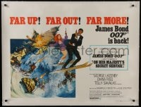 8m103 ON HER MAJESTY'S SECRET SERVICE linen British quad 1969 Lazenby as James Bond, ultra rare!