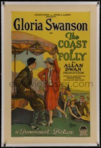 8m281 COAST OF FOLLY linen 1sh 1925 Gloria Swanson as both mother & daughter in wild scandal, rare!