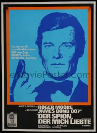8m037 SPY WHO LOVED ME linen German 1977 Roger Moore as James Bond 007 + Seiko wristwatch ad, rare!