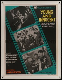 8m003 YOUNG & INNOCENT linen Indian R1960s Alfred Hitchcock romantic murder mystery, film strip art!