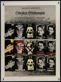 8m041 ODEJSCIE GLODOMORA linen stage play Polish 27x37 1977 Klimowski/Schejbal art of faces on cans!