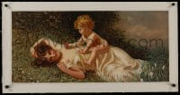8m169 ALLEGREZZO INFANTILE linen 15x32 Italian special poster 1900s wonderful art of mother & child!