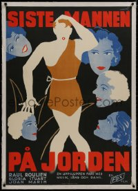 8m014 IT'S GREAT TO BE ALIVE linen Swedish 1933 Rumert art of gals lusting for last fertile man, rare!