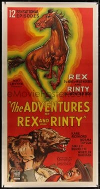 8p022 ADVENTURES OF REX & RINTY linen 3sh 1935 serial about horse & German Shepherd dog, cool art!