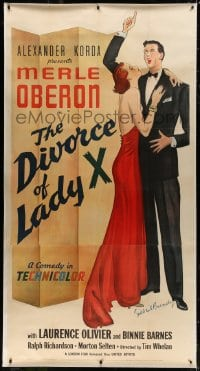 8p024 DIVORCE OF LADY X linen 3sh 1938 Gilbert Bundy art of Merle Oberon & Laurence Olivier, rare!