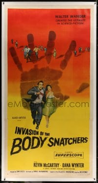 8p025 INVASION OF THE BODY SNATCHERS linen 3sh 1956 classic horror, the ultimate in science-fiction!