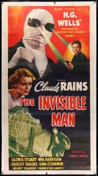 8p026 INVISIBLE MAN linen 3sh R1947 James Whale, H.G. Wells, Claude Rains, Realart, ultra rare!