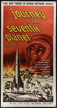 8p027 JOURNEY TO THE SEVENTH PLANET linen 3sh 1961 they have terryfing powers of mind over matter!