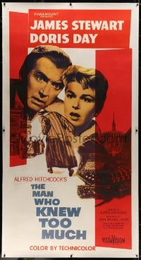 8p030 MAN WHO KNEW TOO MUCH linen 3sh 1956 James Stewart & Doris Day, directed by Alfred Hitchcock!