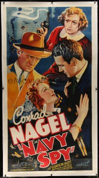 8p031 NAVY SPY linen 3sh 1937 cool artwork of Conrad Nagel + woman with smoking gun!