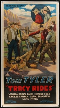8p035 TRACY RIDES linen 3sh 1935 cool art of cowboy hero Tom Tyler punching bad guy in the throat!