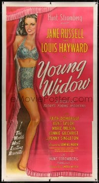 8p037 YOUNG WIDOW linen 3sh 1946 full-length art of world's most exciting sexy brunette Jane Russell!