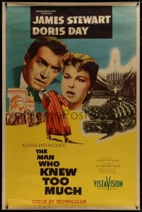 8p011 MAN WHO KNEW TOO MUCH style Y 40x60 1956 Alfred Hitchcock, James Stewart & Doris Day, very rare!
