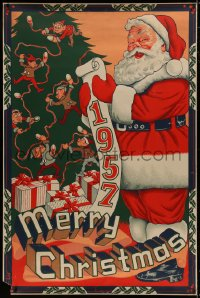 8p014 MERRY CHRISTMAS 1957 40x60 1957 great artwork of Santa Claus w/ his list by tree & presents!
