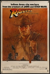 8p010 RAIDERS OF THE LOST ARK 40x60 1981 Richard Amsel art of Harrison Ford, Steven Spielberg!