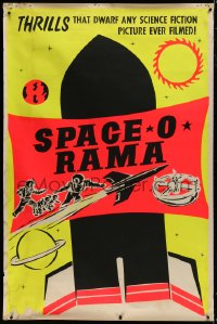 8p015 SPACE O RAMA dayglo 40x60 1950s thrills dwarf any science fiction picture ever filmed, rare!