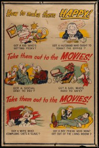8p016 TAKE THEM OUT TO THE MOVIES 40x60 1950s take your kids, husband, or wife out to the movies!