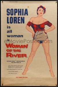 8p009 WOMAN OF THE RIVER 40x60 1956 full-length art of sexy Sophia Loren, who is all woman, rare!