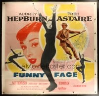8p020 FUNNY FACE linen 6sh 1957 art of Audrey Hepburn close up & full-length + Fred Astaire!