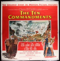 8p021 TEN COMMANDMENTS linen 6sh 1956 Cecil B. DeMille classic, art of Charlton Heston & Yul Brynner