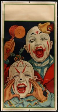 8p039 UNKNOWN CIRCUS POSTER linen 41x80 circus poster 1932 great art of clowns with giant mosquito!