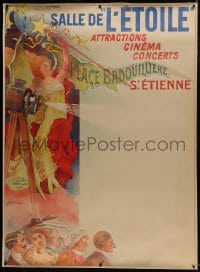 8p093 SALLE DE L'ETOILE linen French 1p 1902 Coulet art of audience, girl & early movie projector!