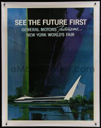 8p041 1964 NEW YORK WORLD'S FAIR linen 39x50 World's Fair poster 1964 General Motors Futurama, rare!
