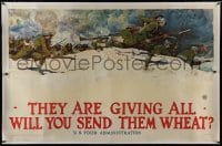 8p042 THEY ARE GIVING ALL WILL YOU SEND THEM WHEAT? linen 36x56 WWI war poster 1918 Harvey Dunn art!